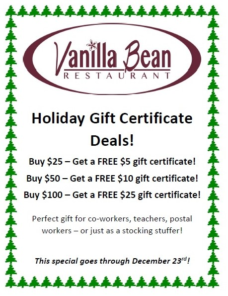 gift certificate promotion the vanilla bean